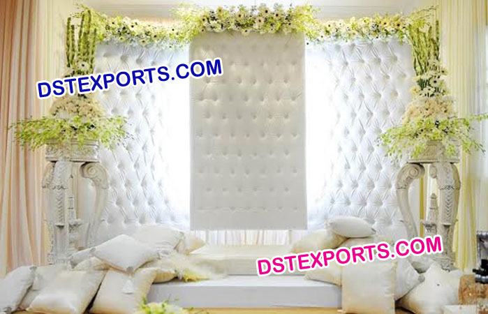Crystal Fitted White Leather Backdrop