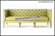 Green Leather Tufted Three Seater Sofa