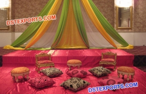 Asian wedding stage decoration for mehandi function