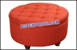 Red Round Tufted Leather Table With Wooden Brown Legs