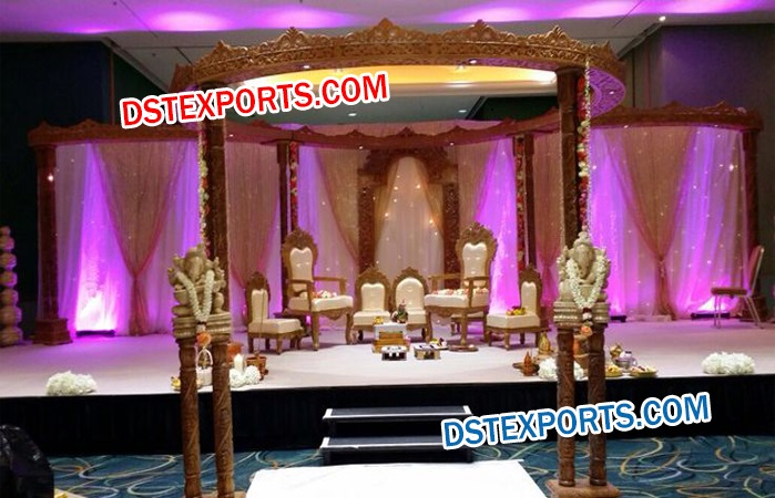 Double PIllars Wooden Carved Mandap
