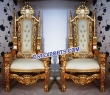 Royal Wedding Gold Wooden Carved Chair Set