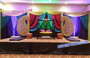 Stylish Paisley Wedding Mehandi Stage