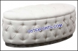 Latest Leather Tufted White Round Bench