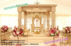 Latest Wedding Hand Carved Wooden Mandap Set
