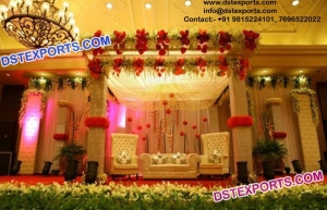 Asian Wedding Leather Crystal Fitted Stage Decori