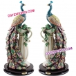 Fiber Peacock Wedding  Statue For Decor