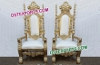 Gold Lion King and Queen Throne Chairs