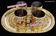Decorated Meenakari Tray With glass