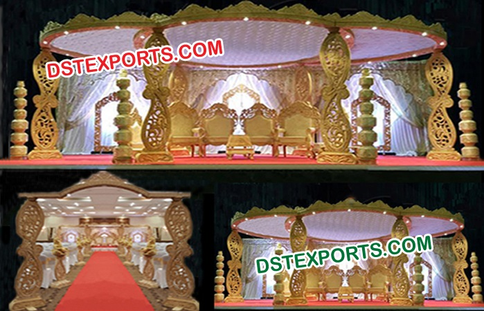 Paisley Style Wooden Hand Carved Mandap