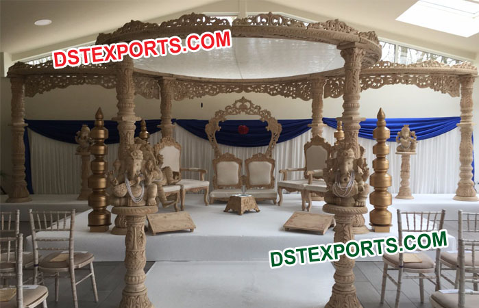 Heavy Carved Wooden Mandap