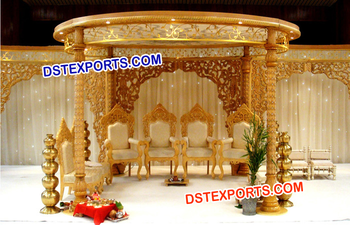 Wedding Golden Wooden Carved Mandap Manufacturer