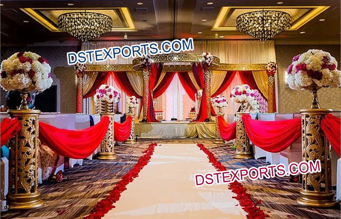 Indoor Golden Carved Mandap Set