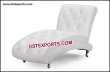 White Leather Tufted Crystal Fitted Chaise Lounge