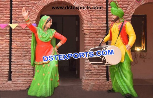 Dancing Lady With Punjabi Jatt Sculpture