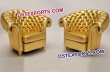Royal Look Gold Leather Tufted Chairs