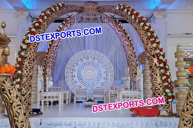Indian Wedding Fiber Carved Elephant Tusk Mandap