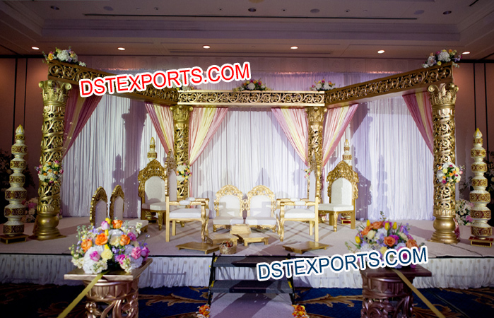 Golden Carved Pillars Open Mandap