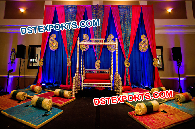 Wedding Mehndi Sangeet Stage Paisley Decoration