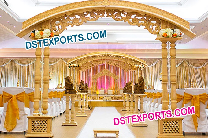 Wedding Heavy Carved Double Pillar Wooden Mandap