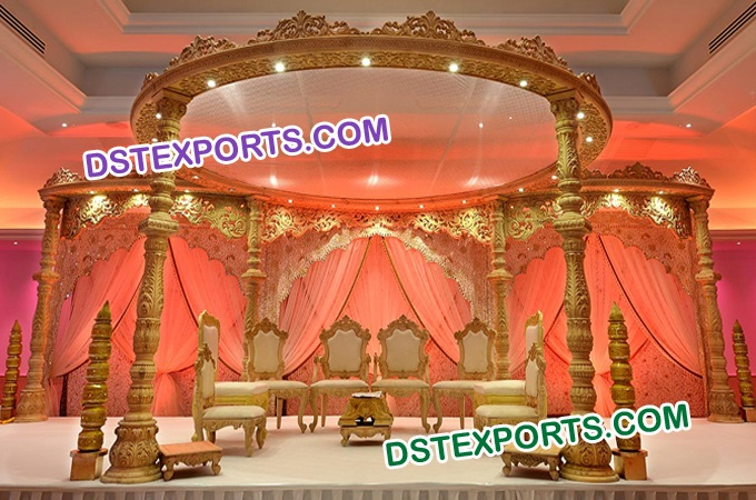 Indian Wedding Round Wooden Mandap