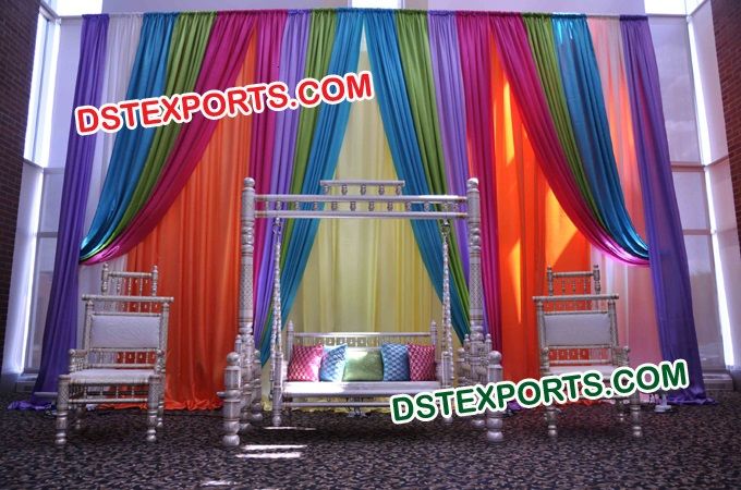Indian Mehandi Stage With Gujrati Swing Set