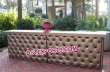 Wedding Golden Leather Tufted Double Bar Table
