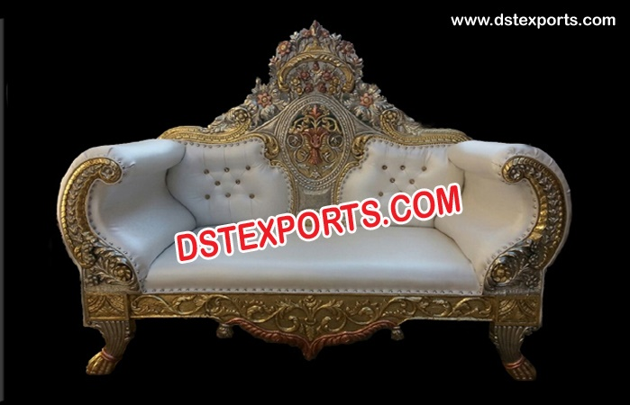 Wedding Brass Metal Carved Maharaja Sofa
