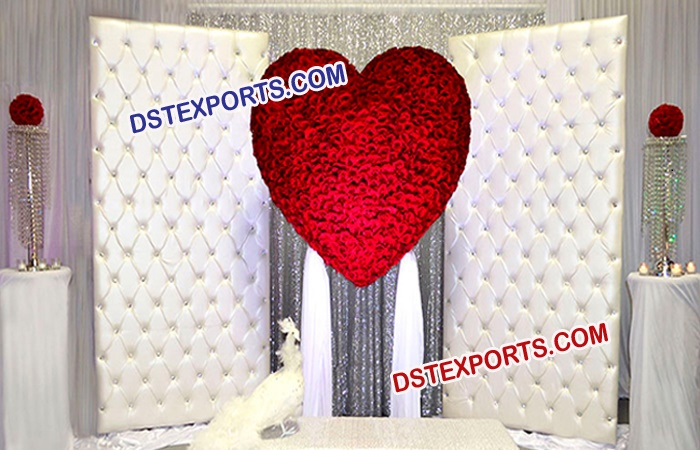 Leather Crystal fitted White Tufted Backdrop