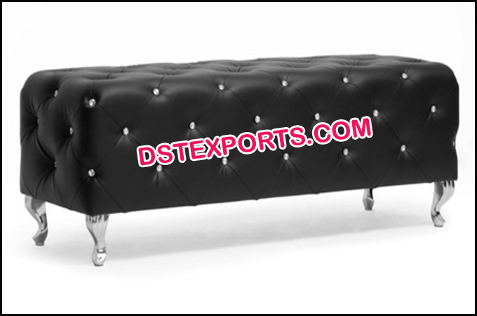 Black Modern Crystal Fitted Tufted Leather Bench
