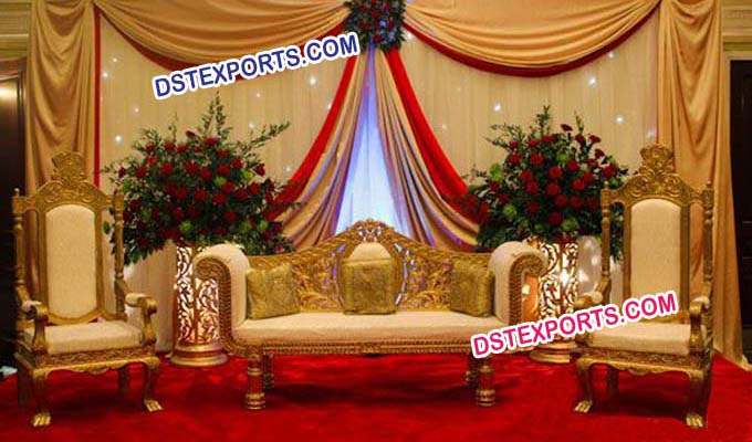 Latest Wedding Golden Carved Designer Sofa Set
