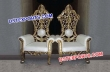 Royal Throne Chair In Gold and Cream