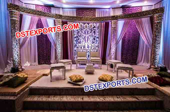 Fully Fiber Carved Open Mandap